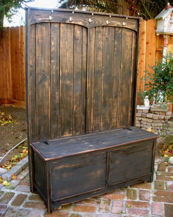 Entryway Bench  Hooks  Hall Stand  Distressed by honeystreasures, $950.00