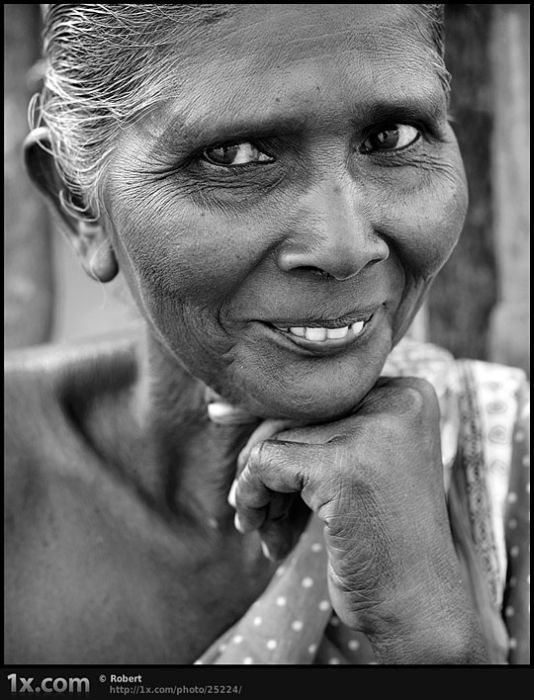 Smiling woman in India