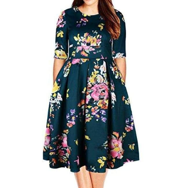 Plus Size Floral 3/4 Sleeve Backless Cocktail Party Swing Dress #backlesscocktaildress
