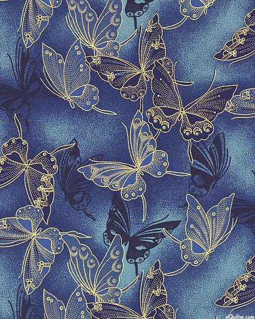 Fancy Flight - Cloisonne Butterflies - Indigo/Gold e quilter $9.95 yard new prod 16.9.14