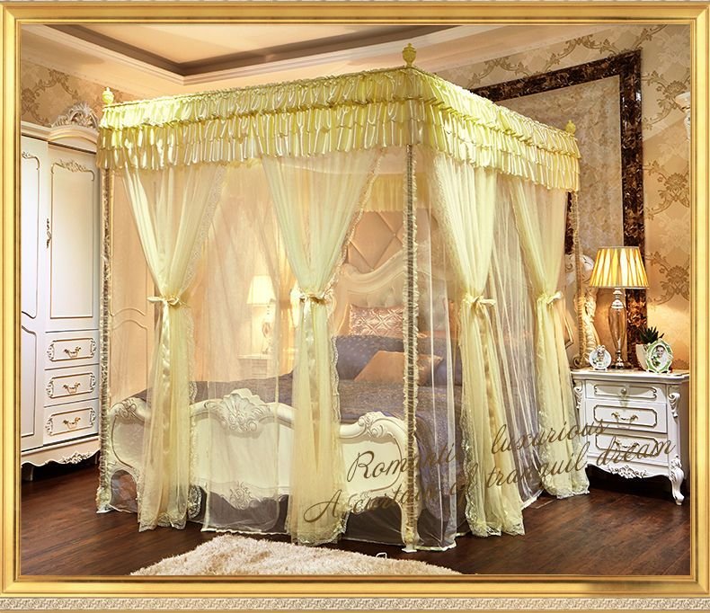 luxury mosquito net bed home canopy bed net 6 door curtain frame