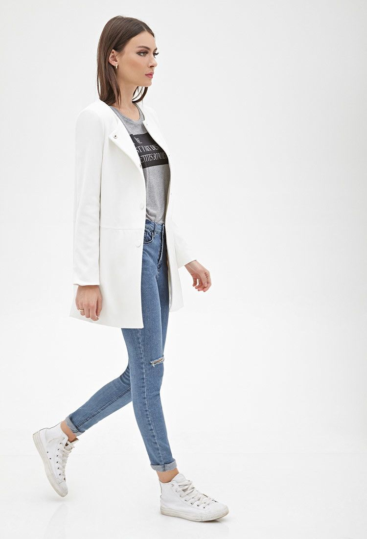 Collarless Faux Leather-Paneled Coat | Forever 21 Canada