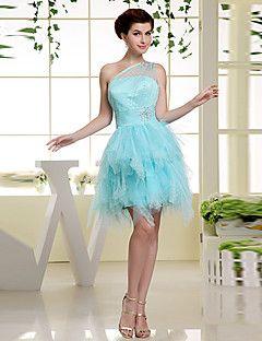 Formal+Evening+Dress+-+Sky+Blue+A-line+One+Shoulder+Short/Mi...+–+USD+$+99.99