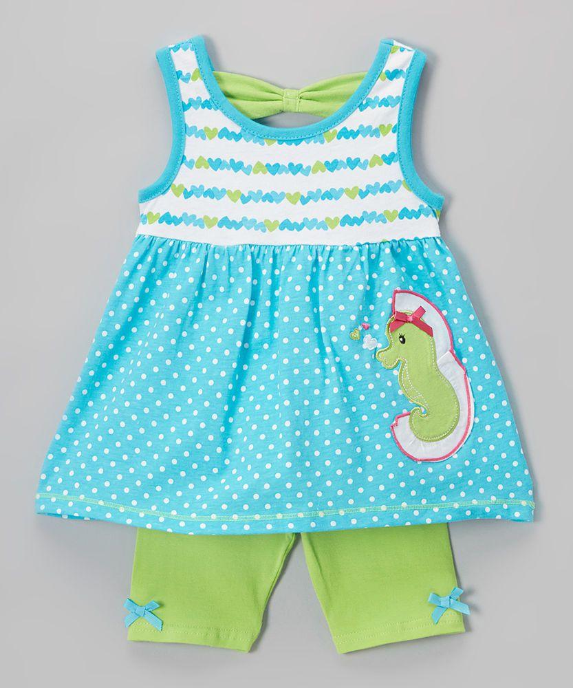735687594ef0 Blue & Green Seahorse Tank & Shorts Set - Girls Size 4 NWT Nannette Girl  #NannetteGirl #Everyday