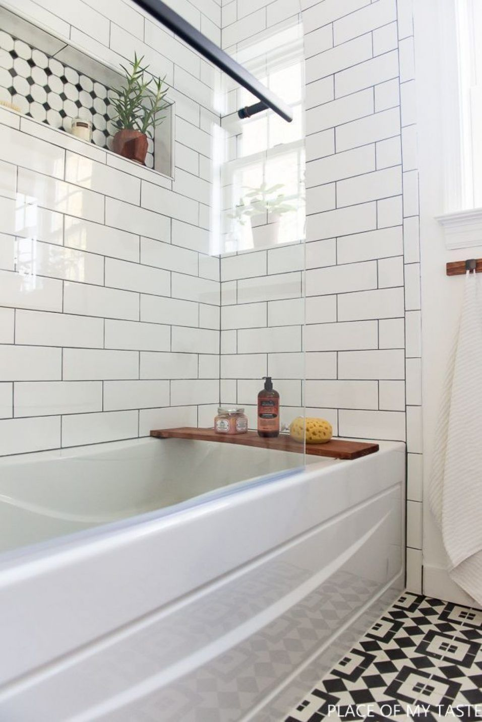 large white subway tile shower