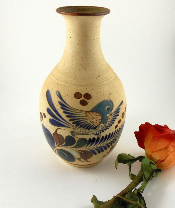 MEXICAN POTTERY VASE pitcher urn hand painted brown green blue bird collectible, southwestern decor signed ceramic vintage christmas gift
