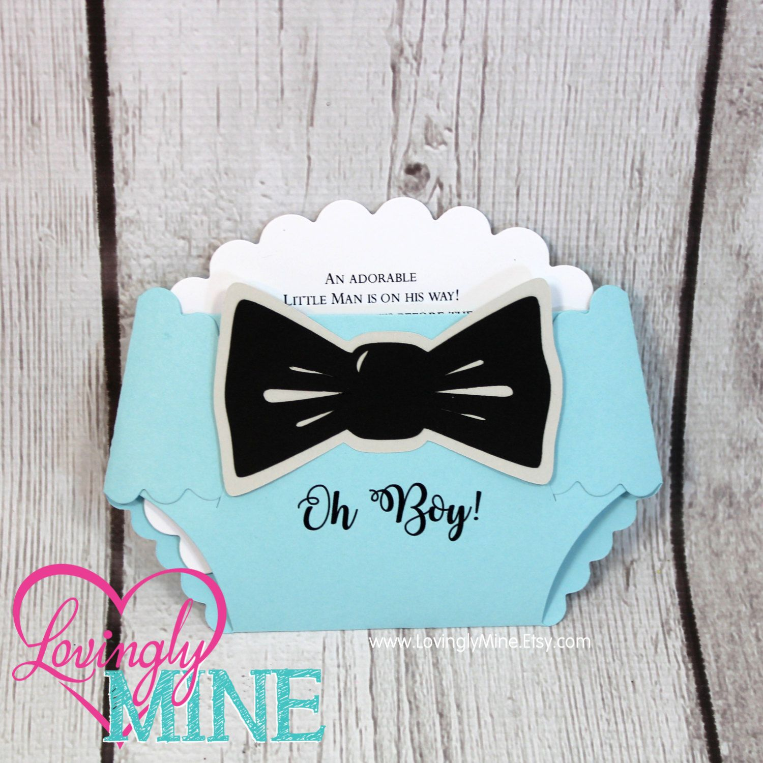 Invitations - Little Man Bow Tie Diaper Shape Invites in Baby Blue ...
