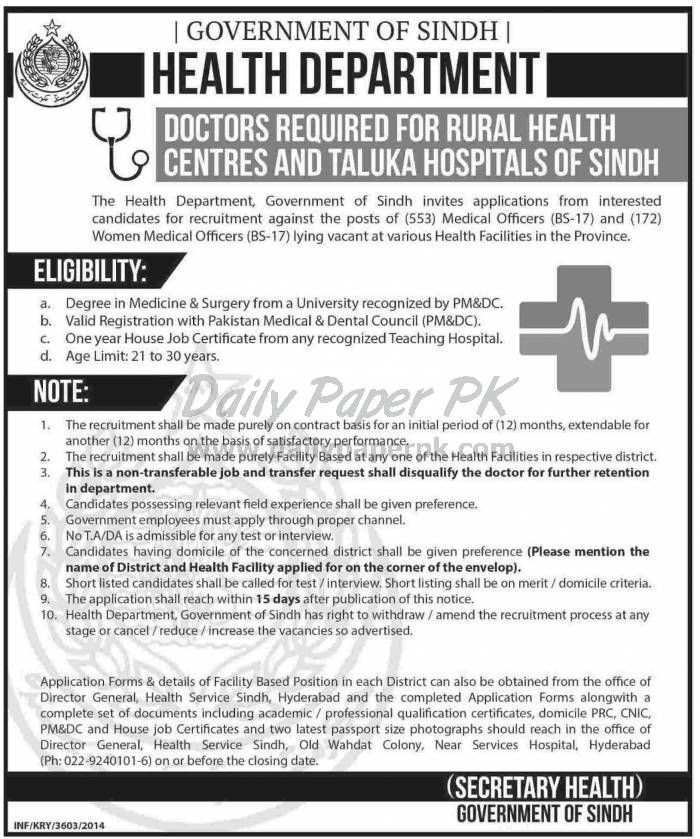 Job Opportunities in Department of Health Government of