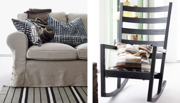 Close Up Of EKTORP Three Seat Sofa And VÄRMDÖ Rocking Chair: Sofa