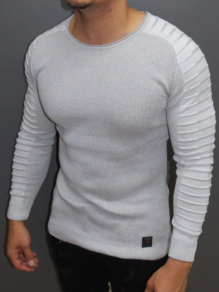 R R Men Stylish Side Arm Ribbed Crew Neck Sweater White Long Sleeve Shirt Men Crew Neck Sweater Sweaters [ 1024 x 768 Pixel ]