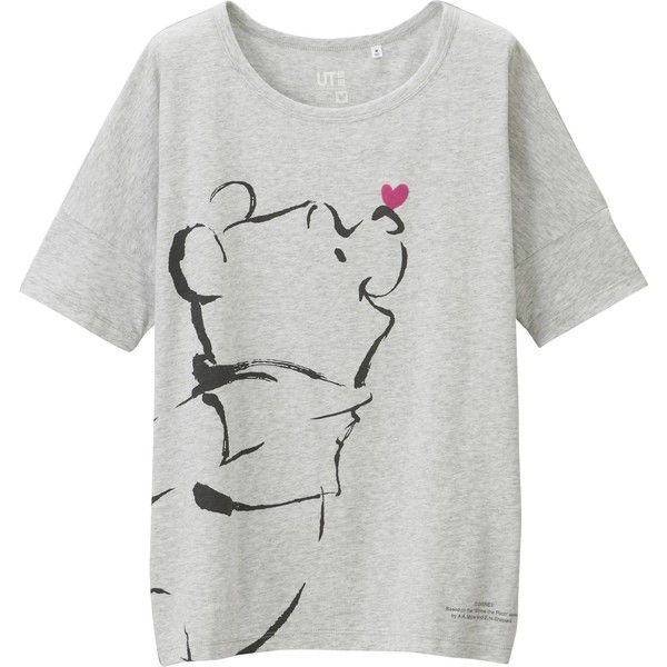87c591ff34bb2 UNIQLO Women Disney Project Short Sleeve Graphic T-Shirt ($20) ❤ liked on  Polyvore featuring tops, t-shirts, light gray, cotton t shirts, uniqlo  t-shirts, ...