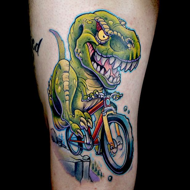Elimination tattoo new school dinosaurs caricatures for Tattoo school listings