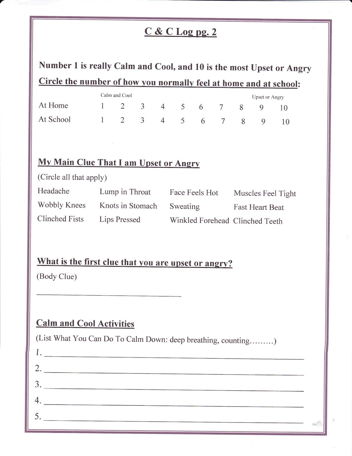 worksheet Free Anger Management Worksheets lorinda character education self control 9 anger work sheet