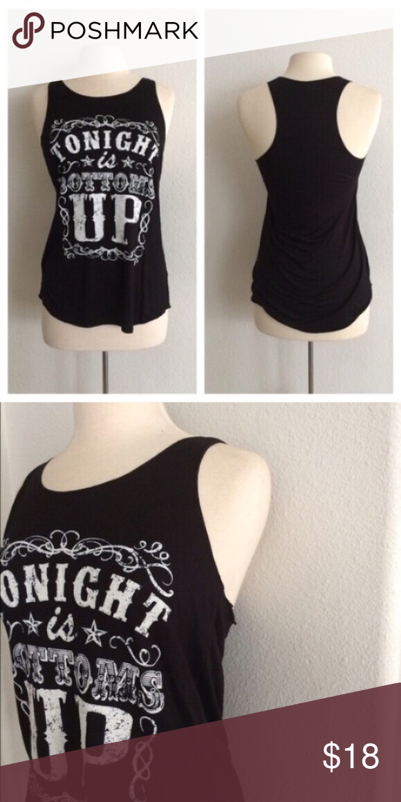 "Bottoms Up tank Black/ bottoms up  S: L: 27"" B: 32"" Rayon/ spandex/ polyester combination. Very lightweight and EXTREMELY stretchy! Semi sheer. Shirt in photos is size M. Availability: S • 1 ⭐️This item is brand new from manufacturer without tags.  🚫NO TRADES 💲Price is firm unless bundled 💰Ask about bundle discounts Tops Tank Tops"