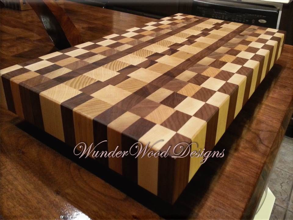 Large Calico Cutting Board With Multiple Wood