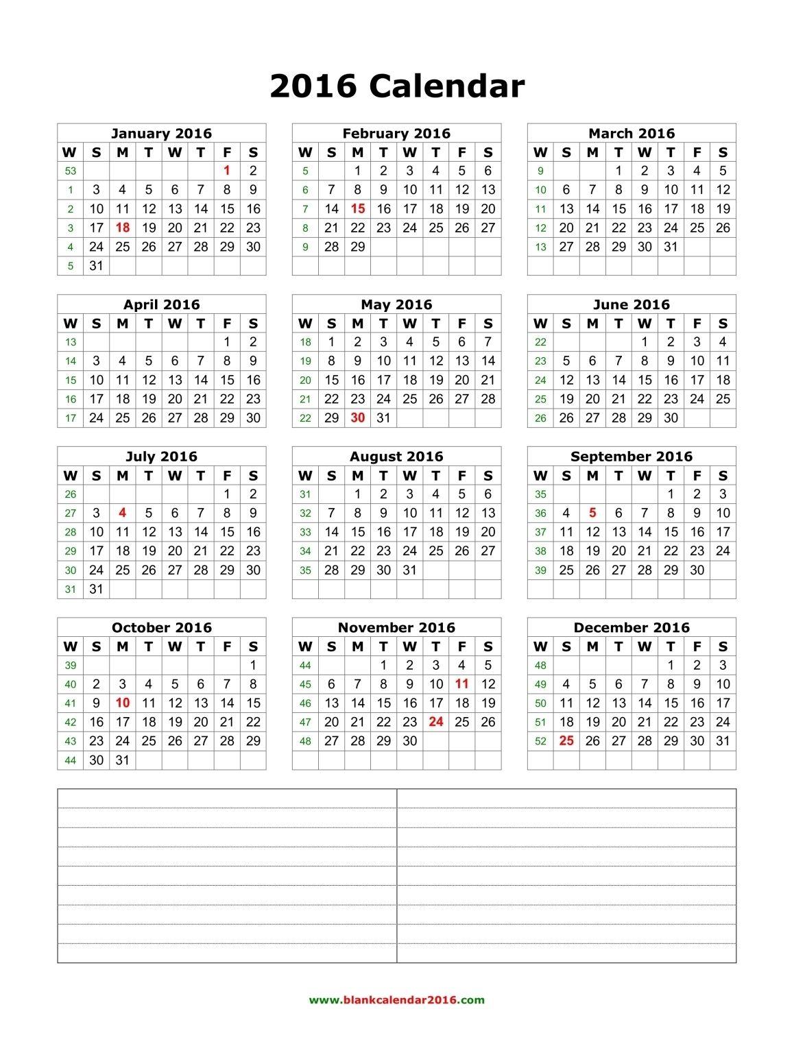 Blank Calendar 2016 With Notes Portrait Calendar Printables