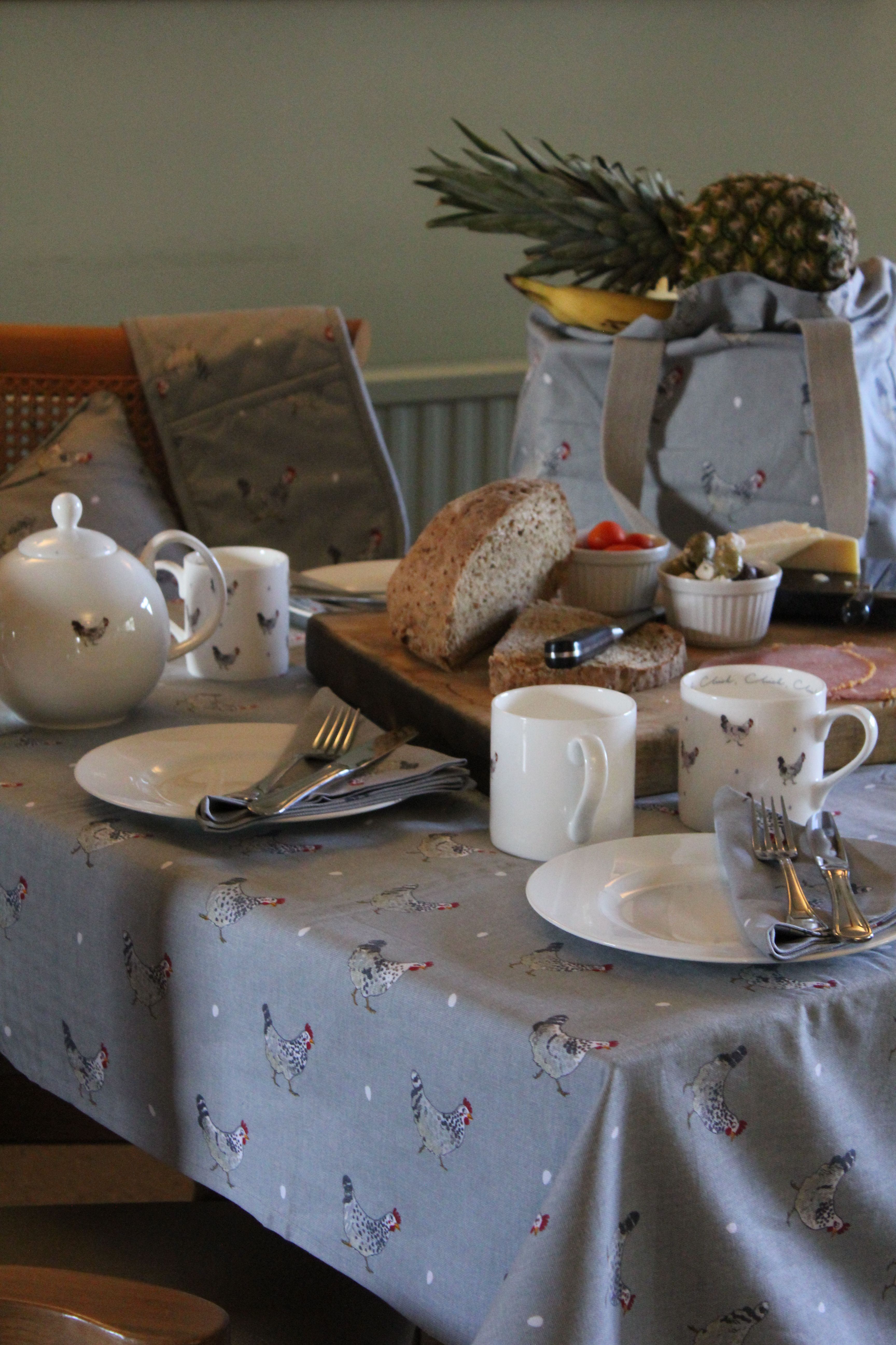 Granny is coming for #lunch so the table has been decorated in only the best #chicken designs by Sophie Allport; table cloths, tea pots and serviettes all done in the finest #poultry style. Guaranteed to impress.