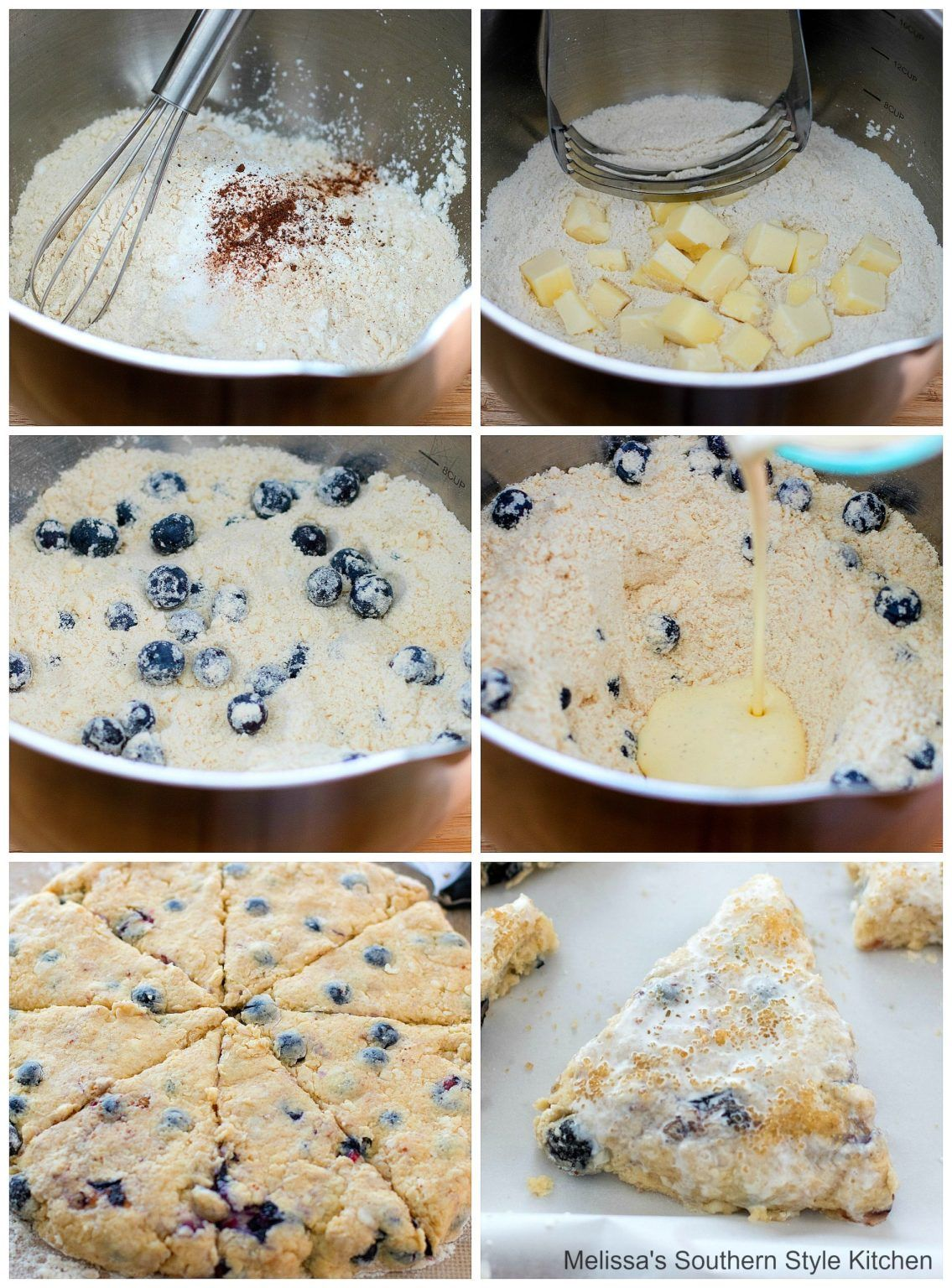 Blueberry Sour Cream Scones Melissassouthernstylekitchen Com In 2020 Sour Cream Scones Cream Scones Sweet Dough