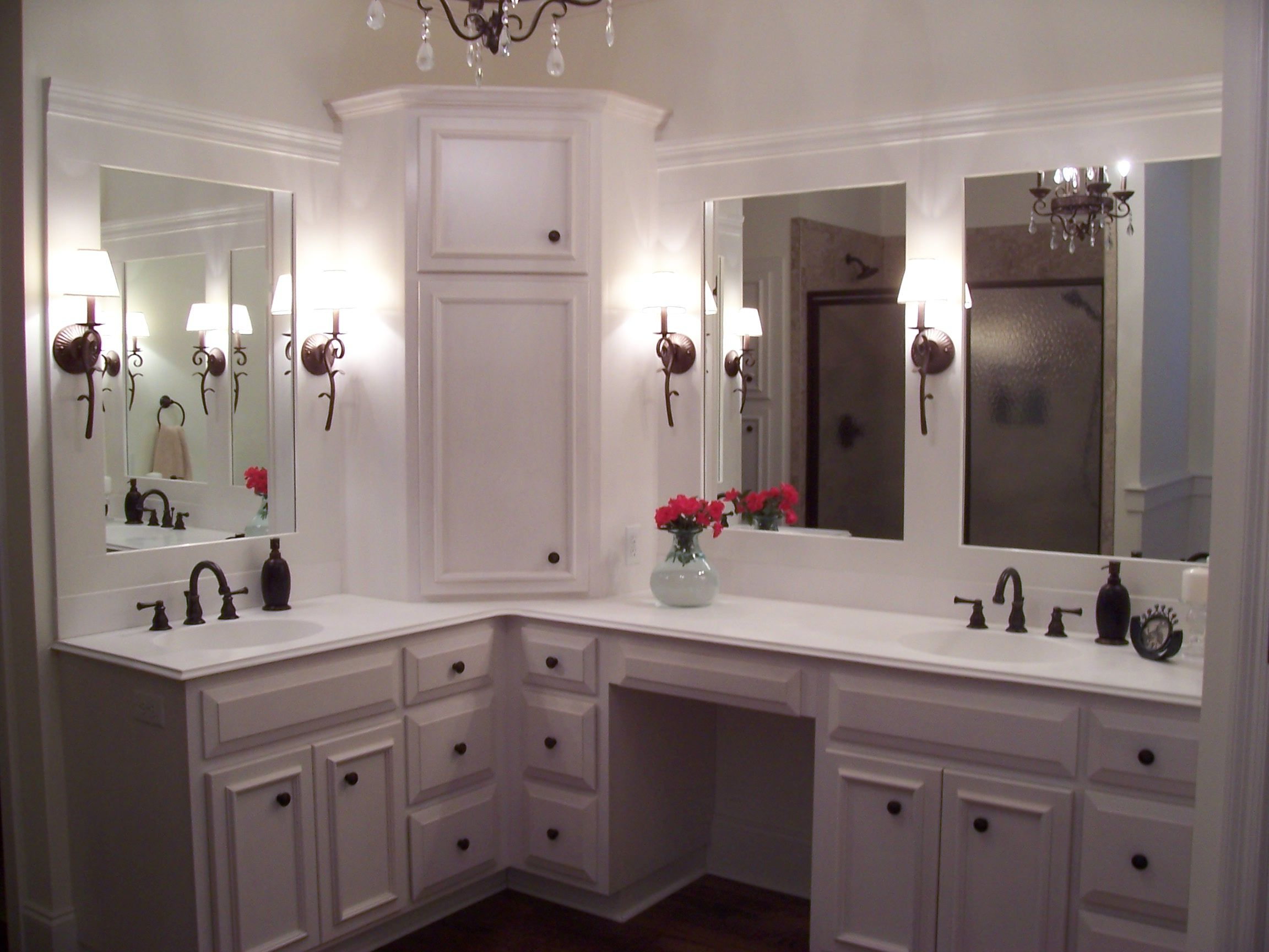 Custom built home master bathroom with custom white for Master bathroom cabinet designs