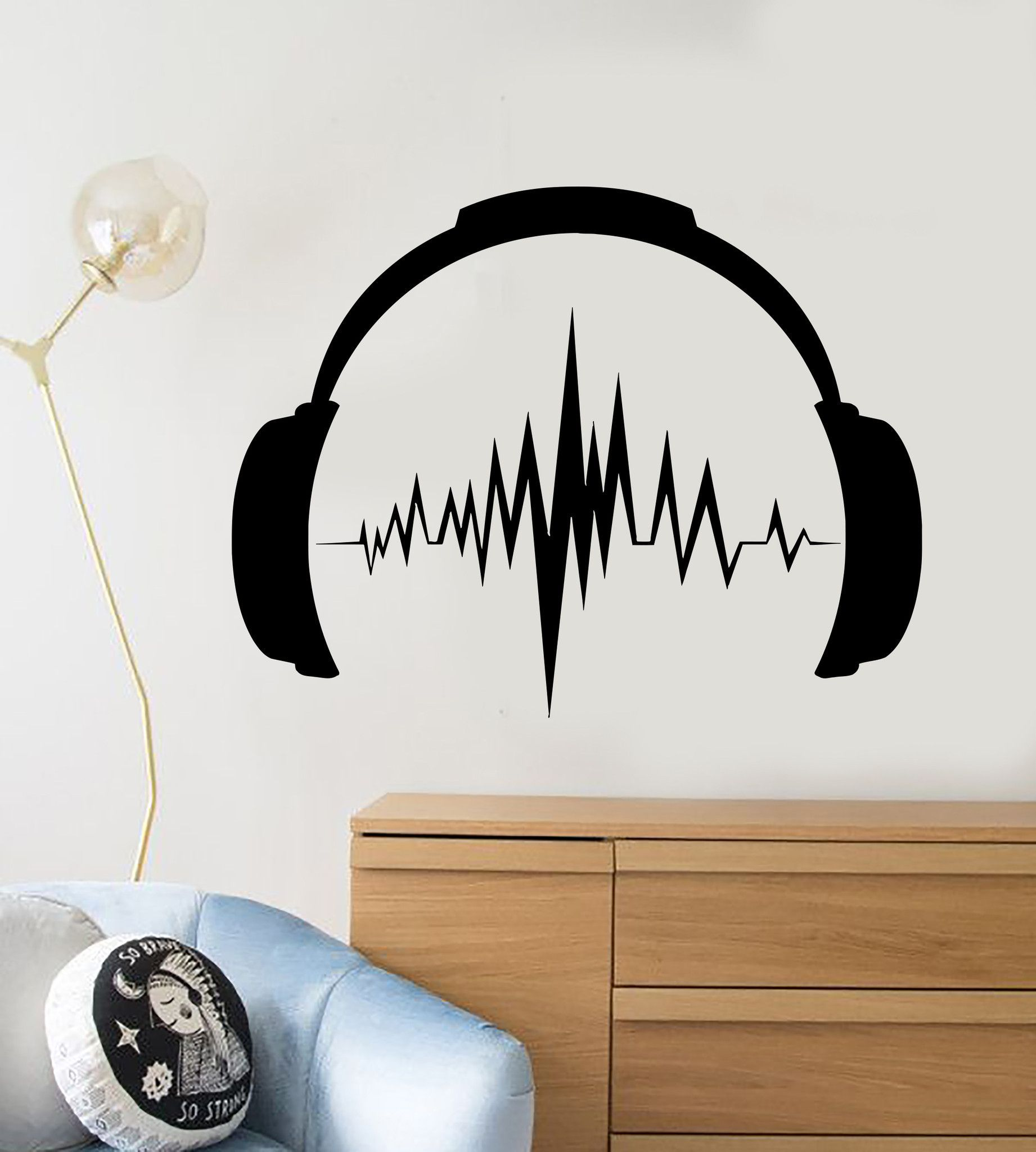 Vinyl wall decal headphones sound music musical teen room for Grado superior decoracion de interiores