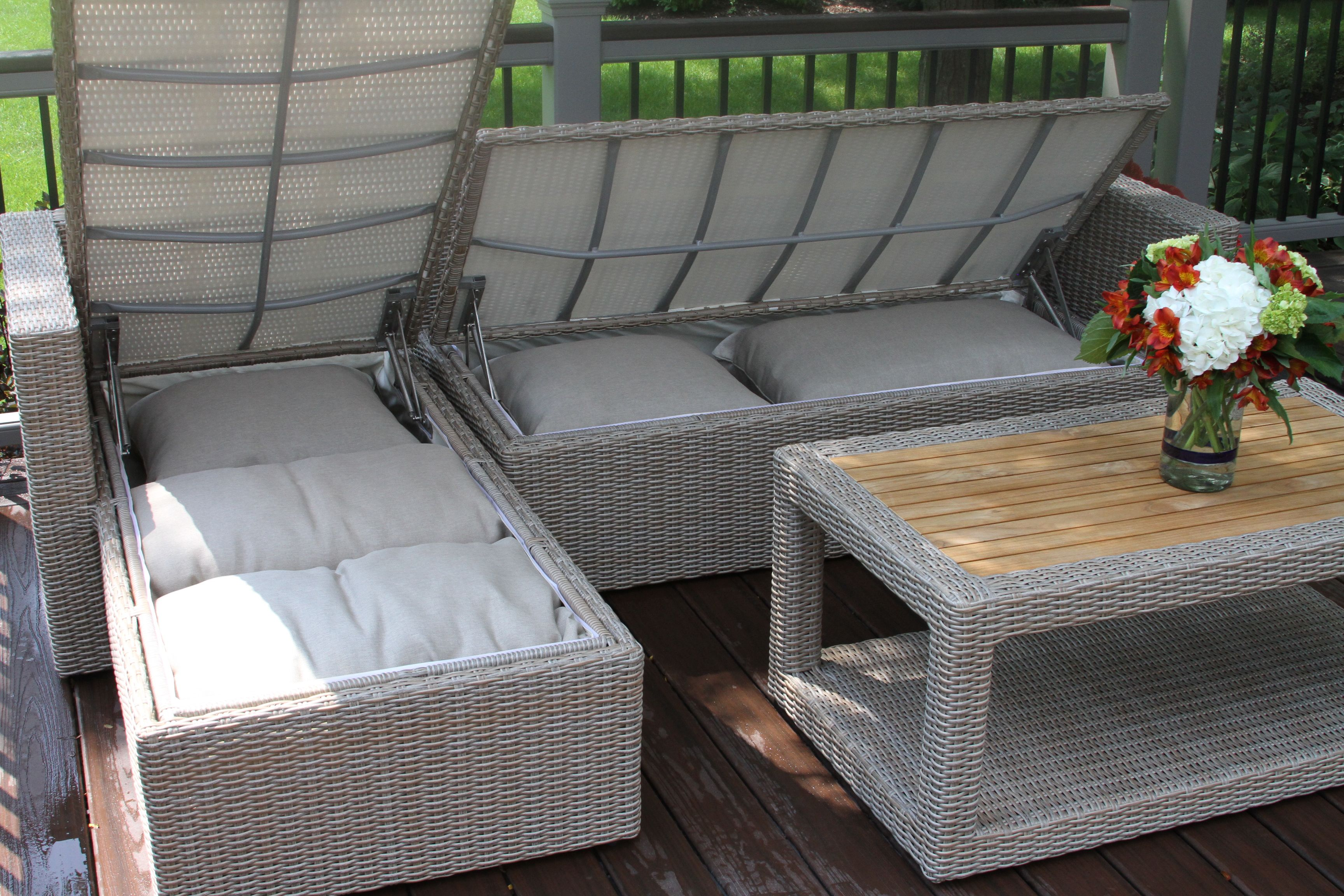 Outdoor Interiors Teak Wicker Sectional With Waterproof Cushion And Pillow Storage Patio Cushion Storage Waterproof Outdoor Cushions Diy Outdoor Cushions