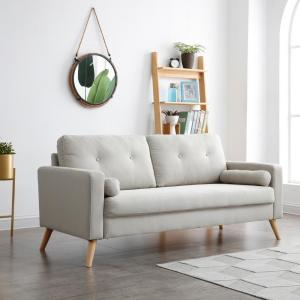 Alvin 3-Seat Beige Fabric Upholstered Living Room Sofa (With ...
