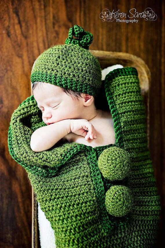 Custom Made * Crochet * Pea Pod Cocoon * with Matching Hat * Photo ...
