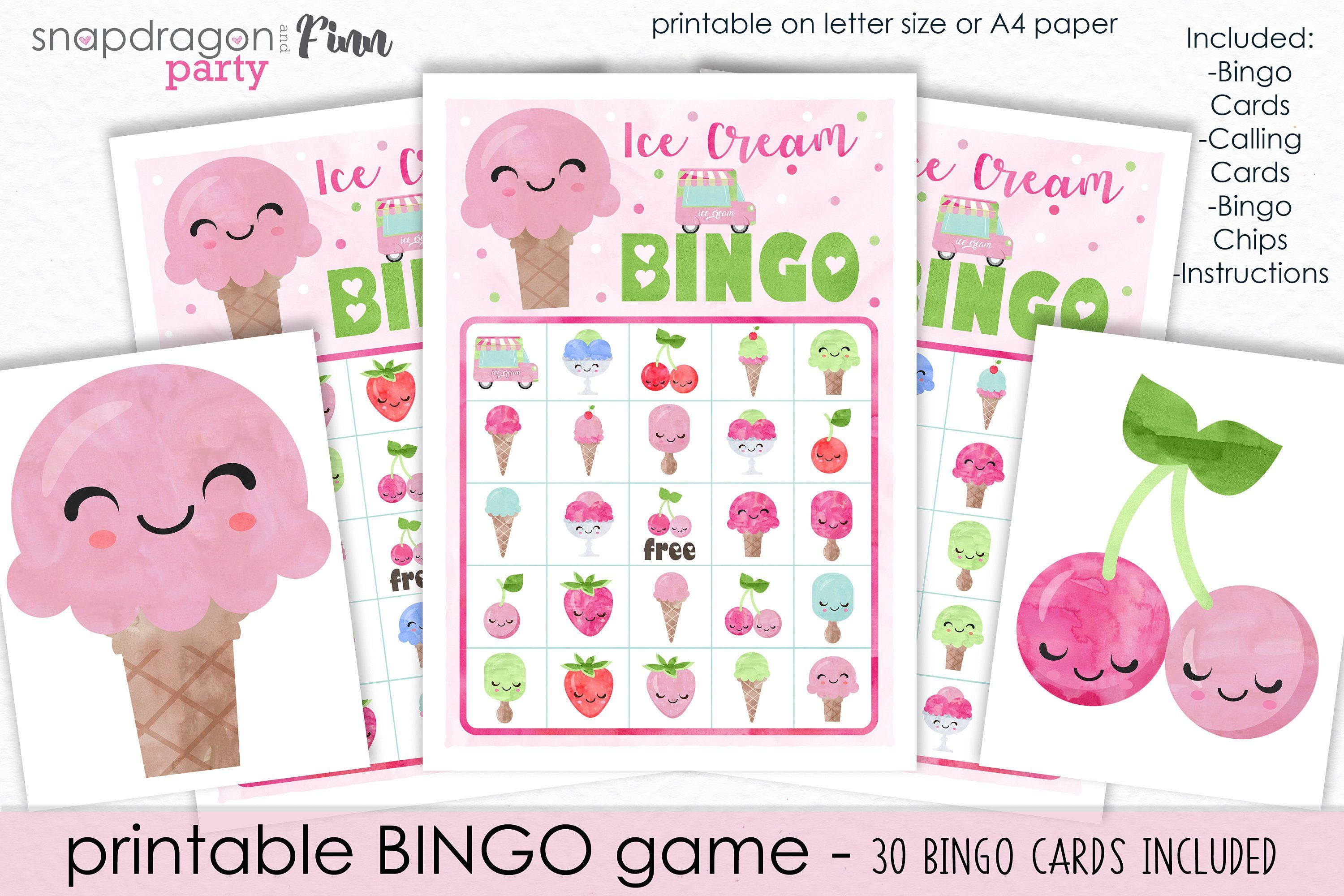 Ice Cream Bingo Printable Party Game