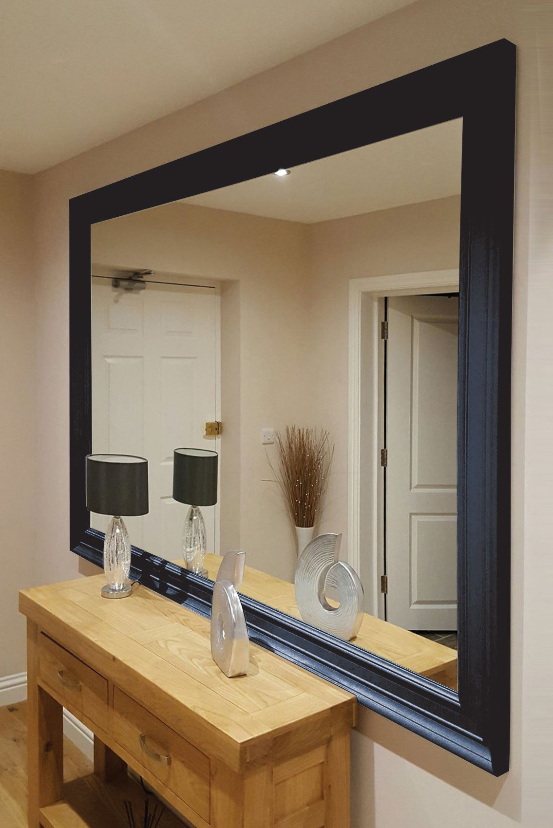 Large Contemporary Black Wall Mirror 206x145cm Shop Contemporary Black Mirror