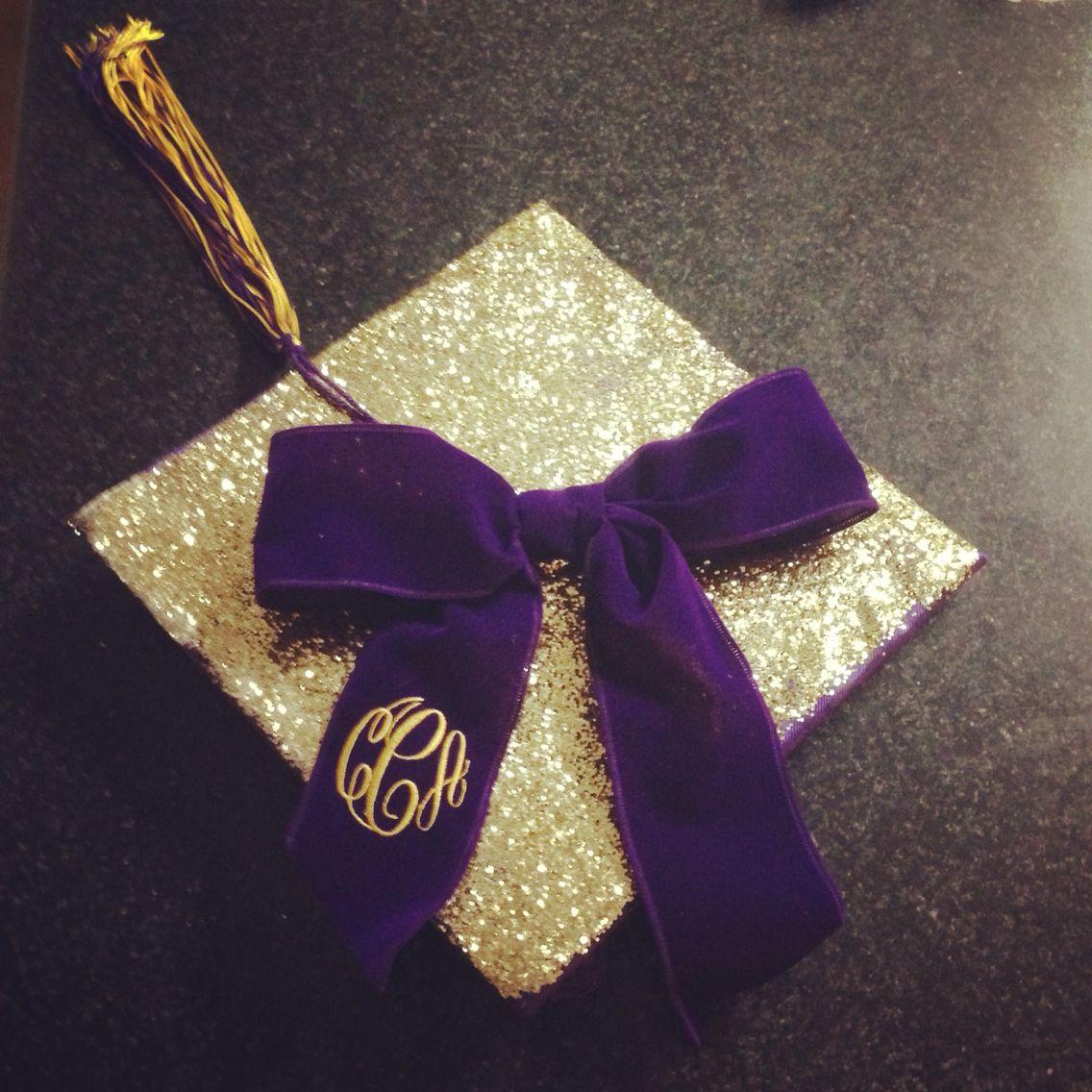 Ecu Purple And Gold Glitter Graduation Cap Pirate