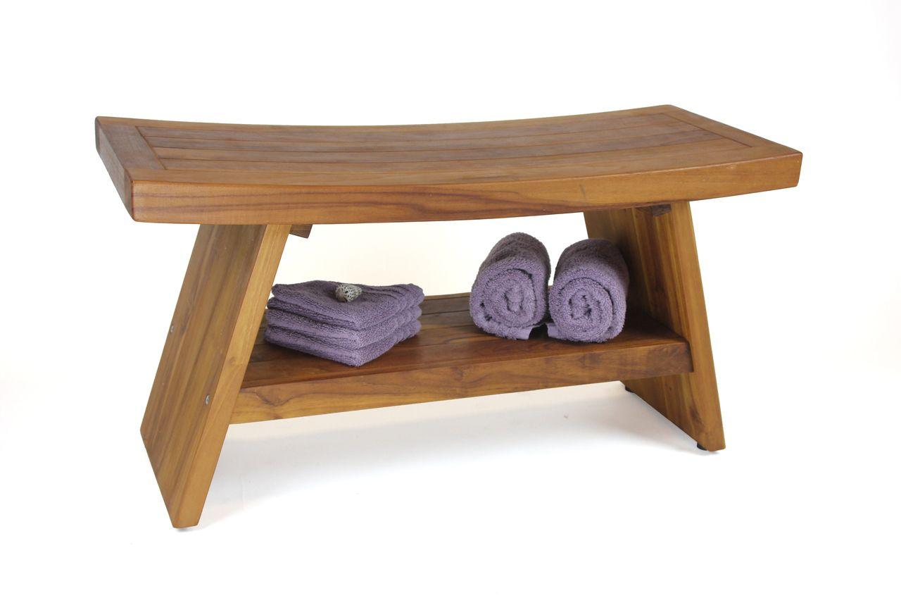 Patented 36 Asia Teak Shower Bench With Shelf Teak Shower Stool Shower Seat Bathroom Bench