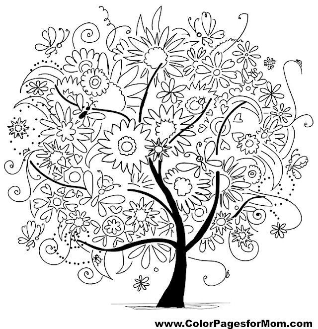 Pin by Michel Moore on pics to color Tree coloring page