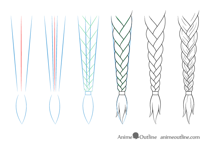 How To Draw Anime Manga Style Hair Braids Animeoutline Anime Drawings How To Draw Braids Drawing Hair Braid