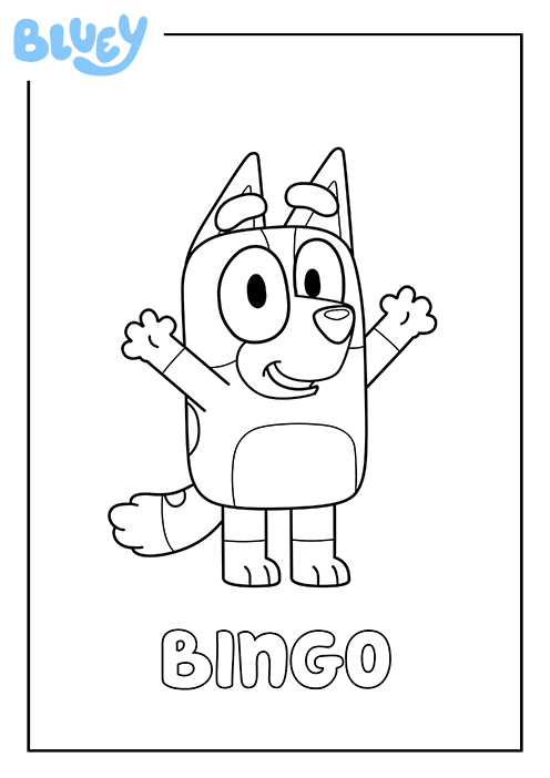 Print Your Own Colouring Sheet Of Bluey S Sister Bingo Kids Colouring Printables Coloring Pictures For Kids Party Invitations Kids