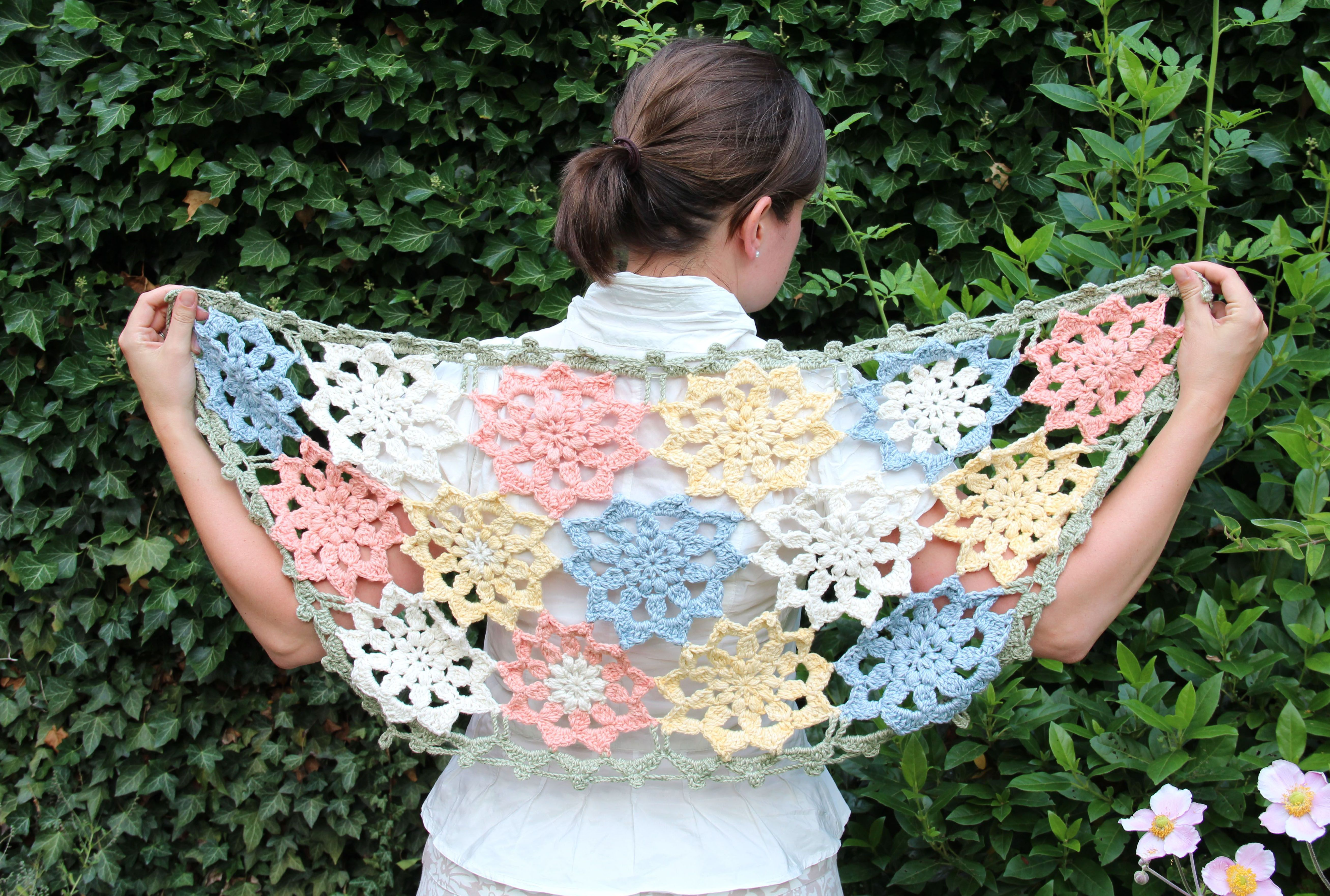New Crochet Diagrams Funkycrochet Crush Rustic Lace Square Motif Pattern Flower Stole Very Clear With Step Pictures Text And