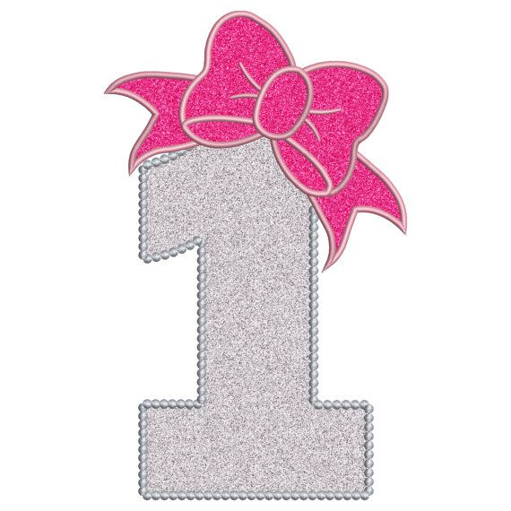 1 Birthday Applique Cute Bow 1st Number Instant Digital Etsy Birthday Girl Pictures 1st Birthday Girls Hello Kitty Printables