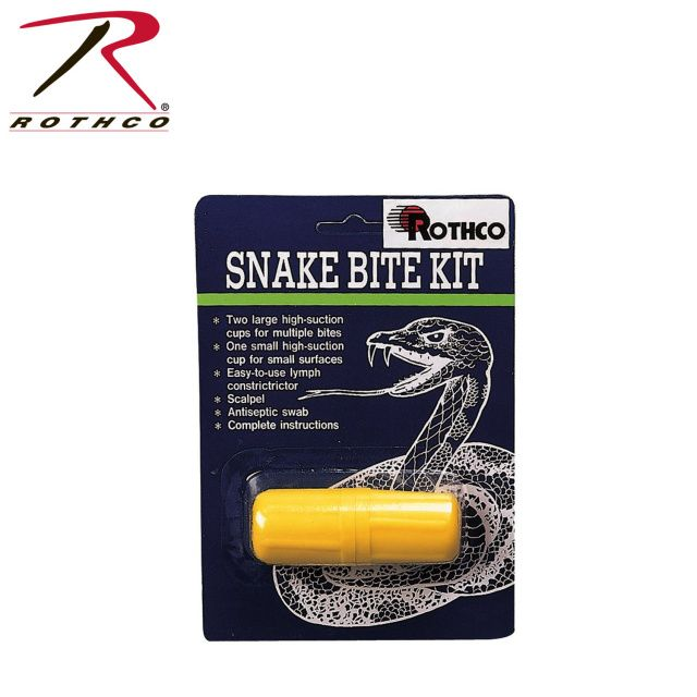 """"""" Rothco Snake Bite Kit"""" The Rothco Snake Bite Kit includes two large high suction cups for multiple bites, one small high suction cup for small surfaces, easy-to-use Lymph Constrictor, scalpel, antiseptic swab and complete instructions."""