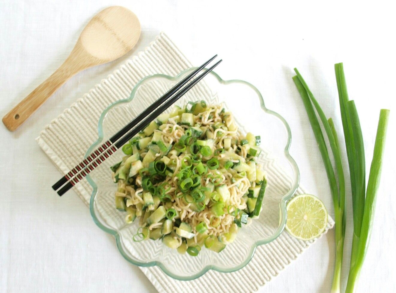 Noodle cucumber salad with peanut and sesame