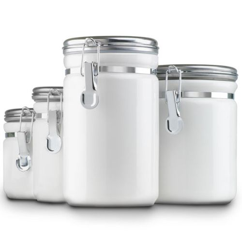 Kitchen Canister Sets | Ceramic Kitchen Canisters - White (Set of ...