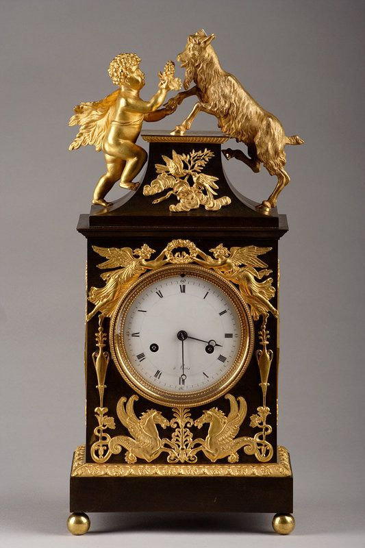 A bronze clock : Bacchus and ibex / Pendule Bouc et Bac