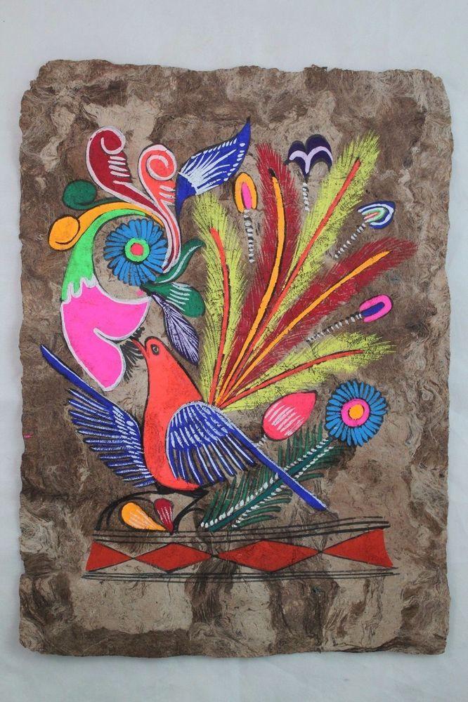 Mexican Folk Art Wall Decor Craft Painting Handmade Bark Hand ...