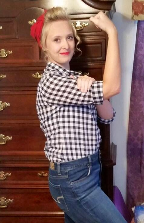 DIY 50's costume. Checkered button up shirt, high rise jeans, red bandana