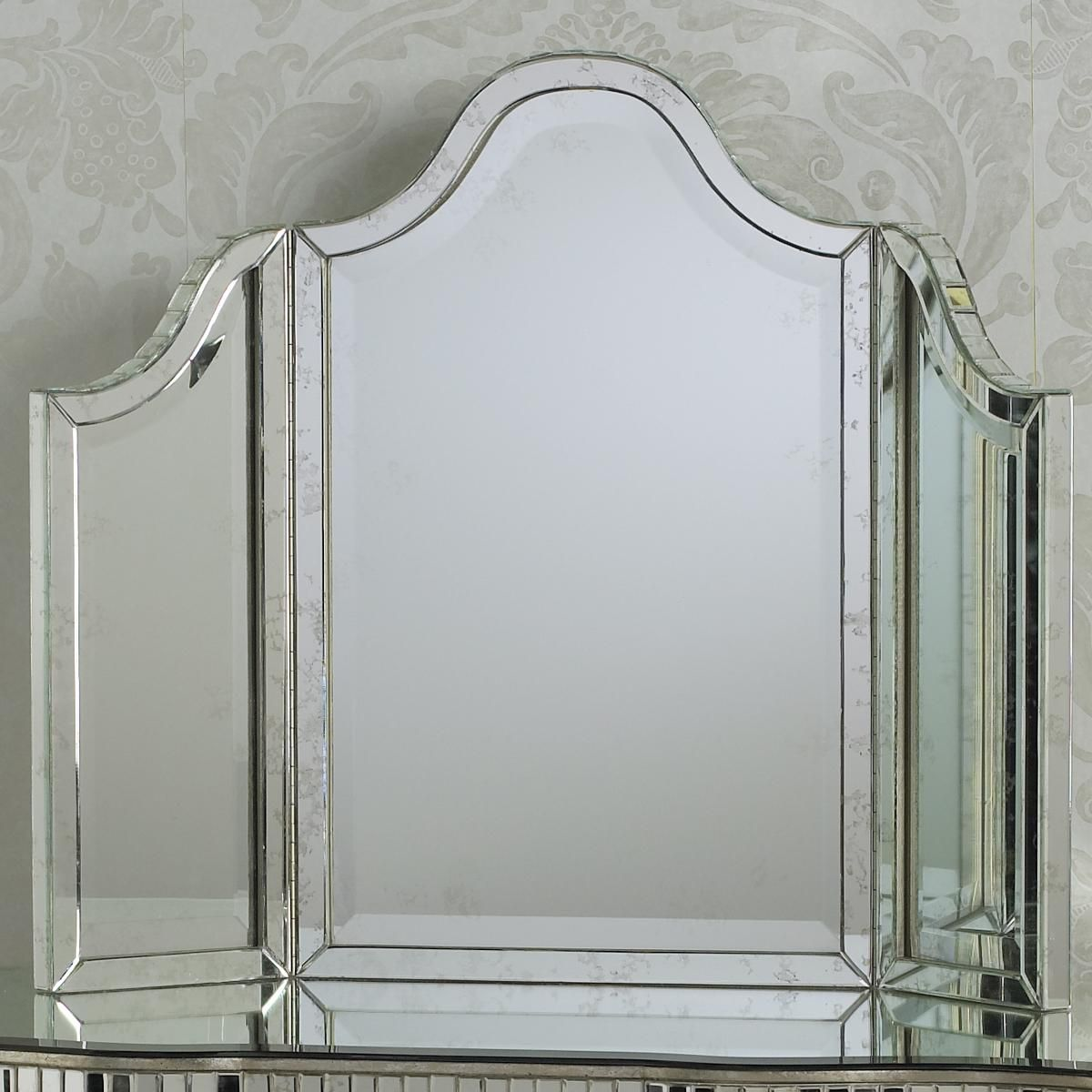 "Tri Fold Vanity Mirror With Lights Trifold Channeled Glass Vanity Mirror 28½""h X 35½""w X 1½""d"