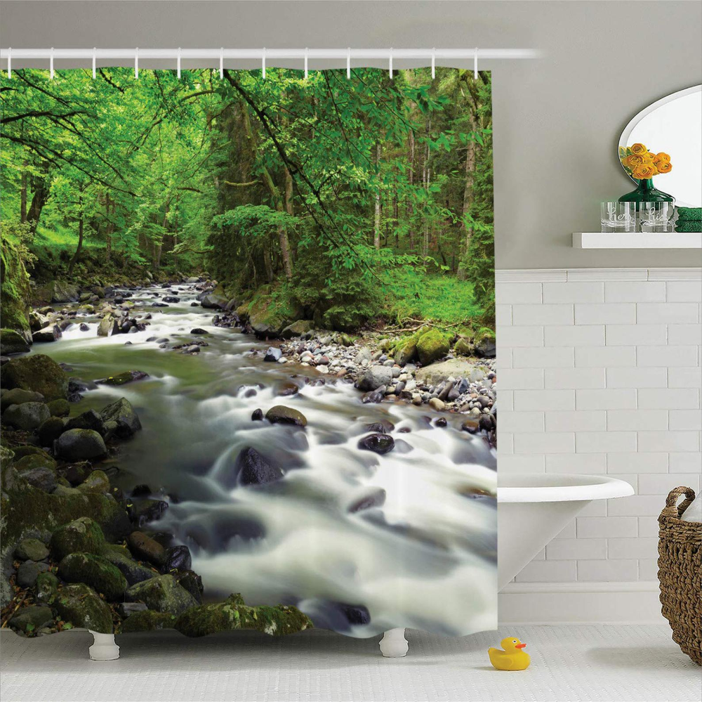 Forest Shower Curtain Rushing Riverbed With Rocks Trees Etsy With Images Tree Shower Curtains Animal Shower Curtain Custom Shower Curtains