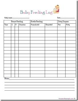 baby feeding log...free printable | Baby's First Year | Pinterest ...