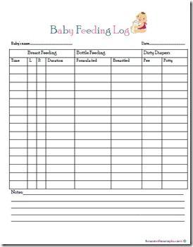 Baby Feeding Log Free Printable