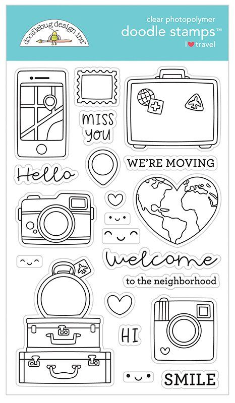 Welcome your new neighbors or let everyone know that you're moving when you use the I Heart Travel Collection Clear Photopolymer Stamps by Doodlebug Design. Included in the set are 21 clear photopolymer stamps in shapes of a vintage camera, suitcase, luggage, a map, and so much more. Use the stamps with an acrylic block of your choice, your favorite inks, and the coordinating I Heart Travel Metal Dies (each sold separately).