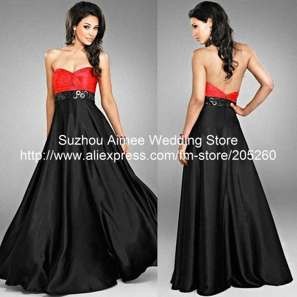 Evening black and red dresses