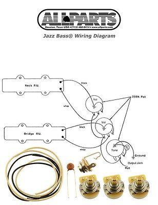 New Jazz Bass Pots Wire Wiring Kit For Fender Jazz Bass