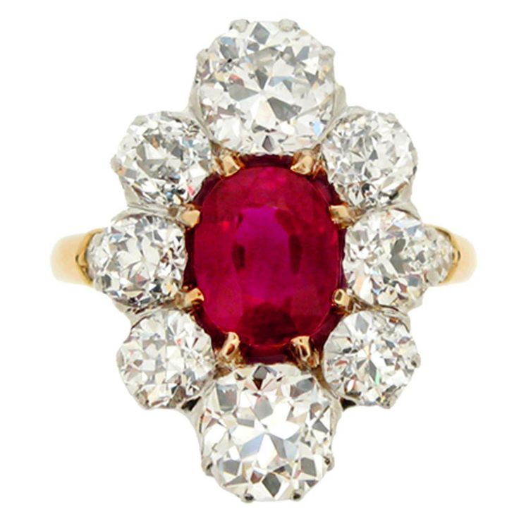 Natural Burmese ruby and diamond cluster ring, circa 1905